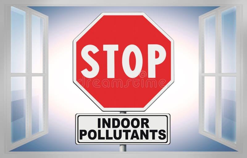 停止室内空气污染物-与进行下去窗口的路标的概念图象 免版税图库摄影