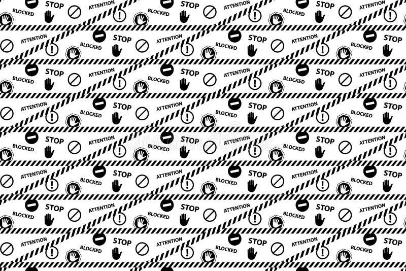 停止封锁的注意危险黑色白色无缝的样式 向量例证