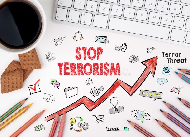 停止恐怖主义概念 键盘和咖啡在一张白色桌上的 皇族释放例证