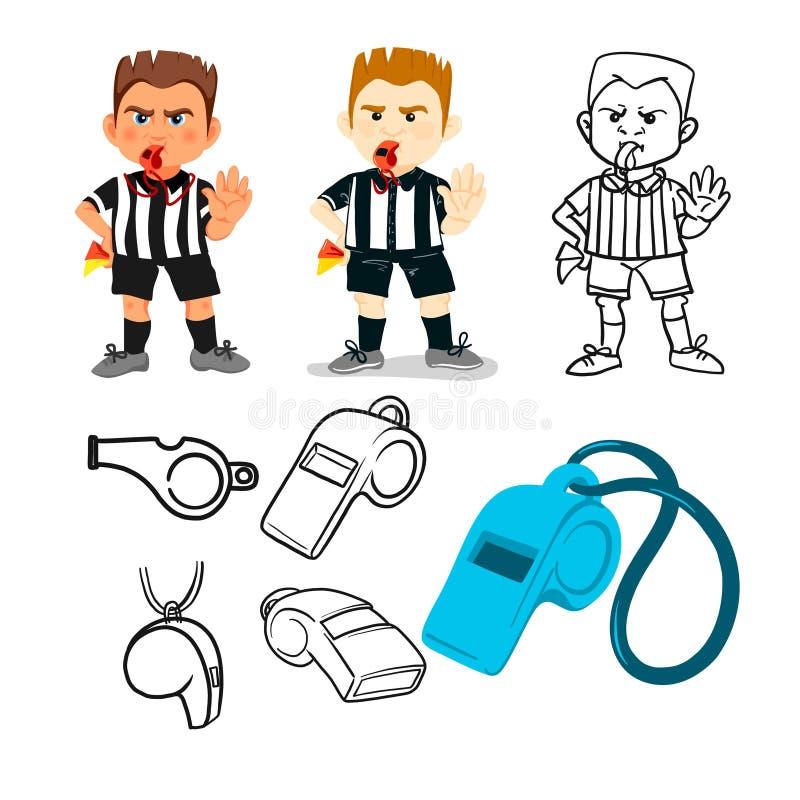 停止手的吹哨的足球裁判员陈列在比赛,人的字符传染媒介例证期间 体育手拉的动画片, 向量例证