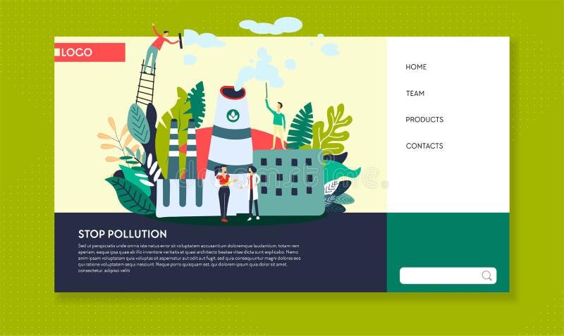 停止污染生态网站模板植物放射 库存例证