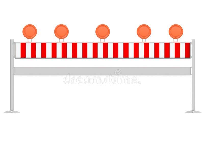 停止汽车和绕道他们或做偏差的交通栏杆或障碍被隔绝在白色背景3d翻译 皇族释放例证