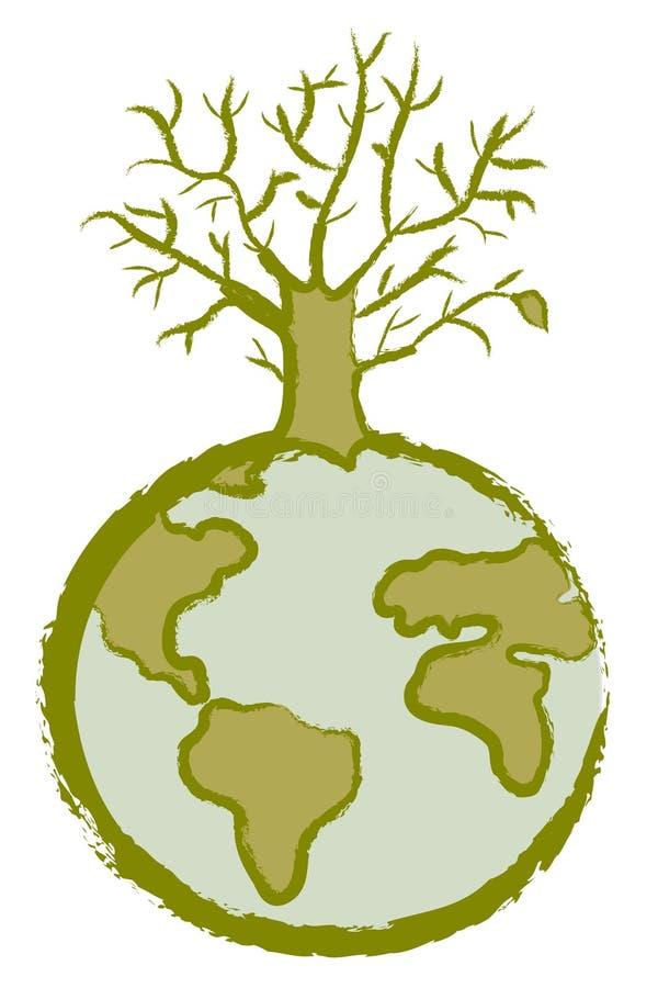 停止的地球结构树 向量例证