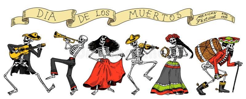 停止的日 墨西哥国庆节 原始的题字用Spanish Dia de los Muertos 在服装的骨骼 向量例证