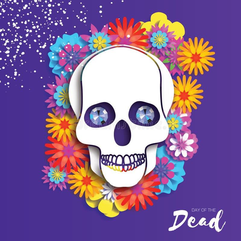 停止的日 纸墨西哥庆祝的裁减头骨 传统墨西哥骨骼 蓝色金刚石眼睛 de dia muertos 向量例证