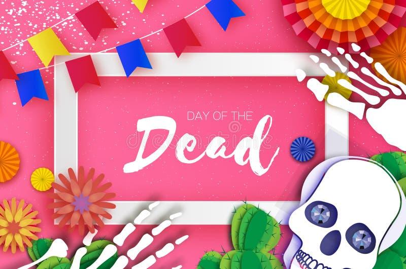 停止的日 纸墨西哥庆祝的裁减头骨 传统墨西哥骨骼 de dia muertos 墨西哥假日 皇族释放例证