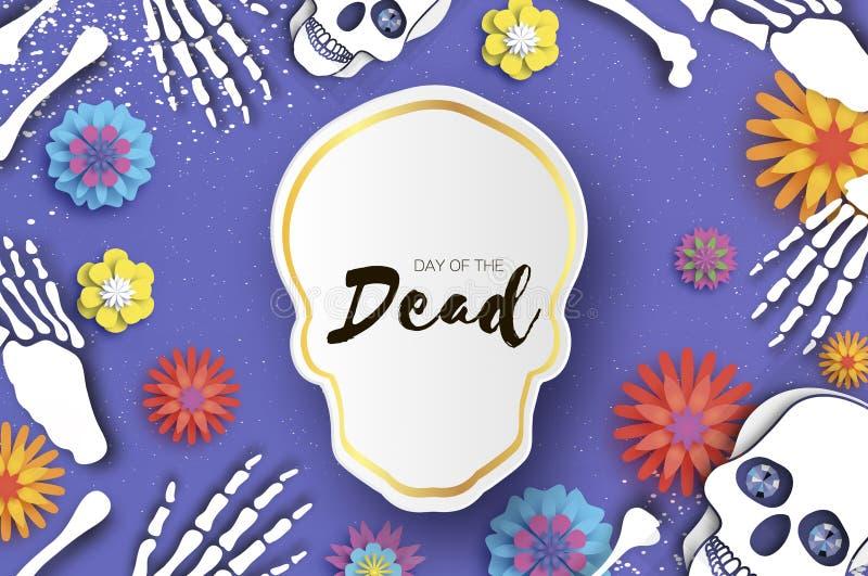 停止的日 纸墨西哥庆祝的裁减头骨 传统墨西哥骨骼 de dia muertos 墨西哥假日 向量例证
