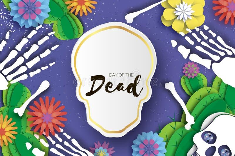 停止的日 纸墨西哥庆祝的裁减头骨 传统墨西哥骨骼 de dia muertos 墨西哥假日 库存例证