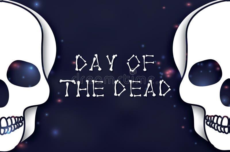 停止的日 纸墨西哥庆祝的裁减头骨 传统墨西哥骨骼 Dia在黑暗的夜蓝色的de muertos 库存例证