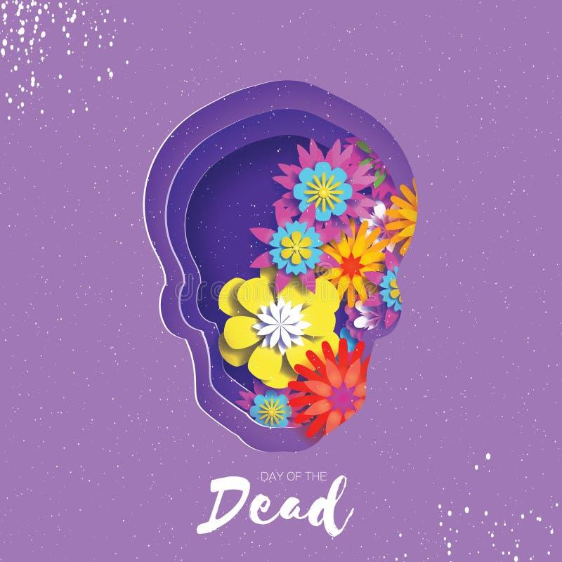 停止的日 纸裁减文本的头骨框架 墨西哥庆祝 Dia在紫色的de muertos Origami cempasuchil 向量例证