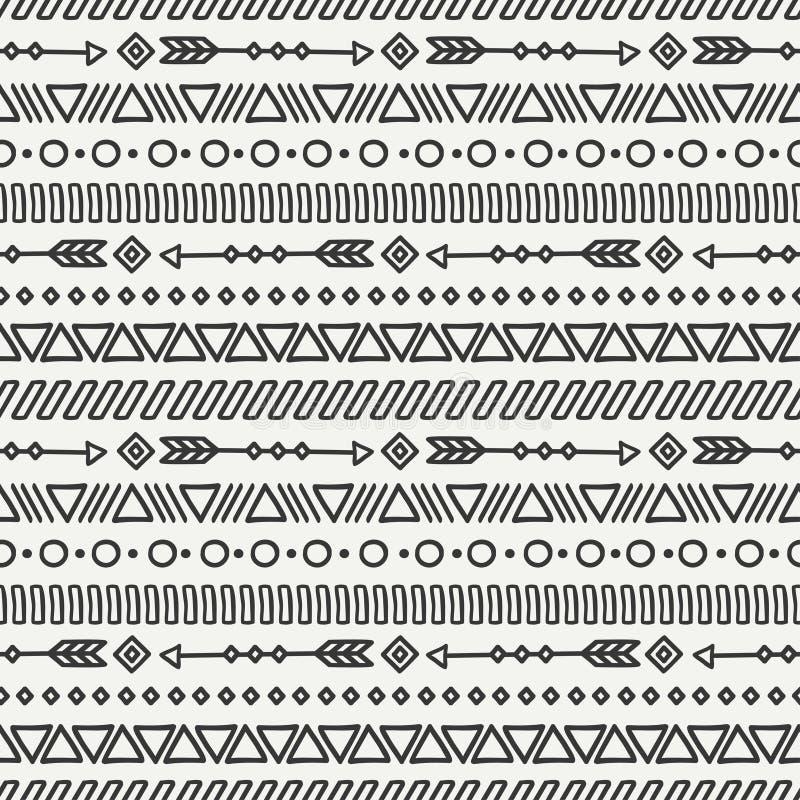 停止的日 部族手拉的线墨西哥种族无缝的样式 边界 饮料例证纸张减速火箭主题向量包裹 打印 乱画 盖瓦 皇族释放例证