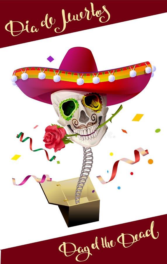 停止的日 头骨墨西哥帽 de dia muertos 皇族释放例证
