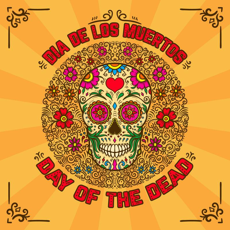 停止的日 de dia los muertos 与墨西哥糖头骨的横幅模板在与花卉样式的背景 设计元素fo 向量例证