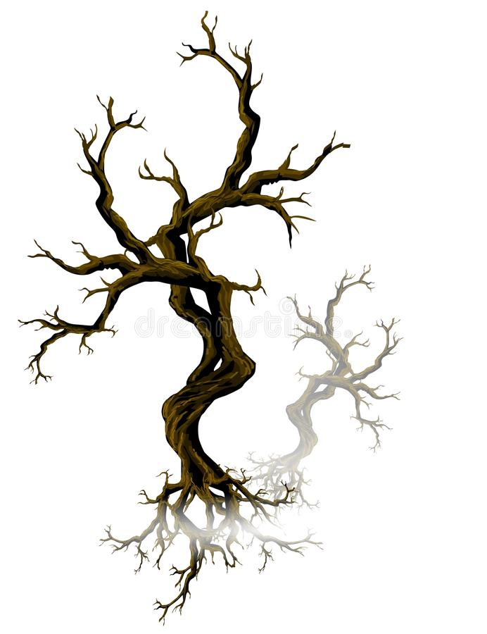 停止的雾结构树 皇族释放例证