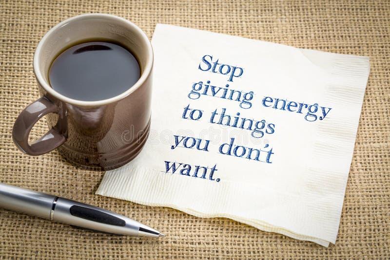 停止给能量您不要的事 免版税库存图片