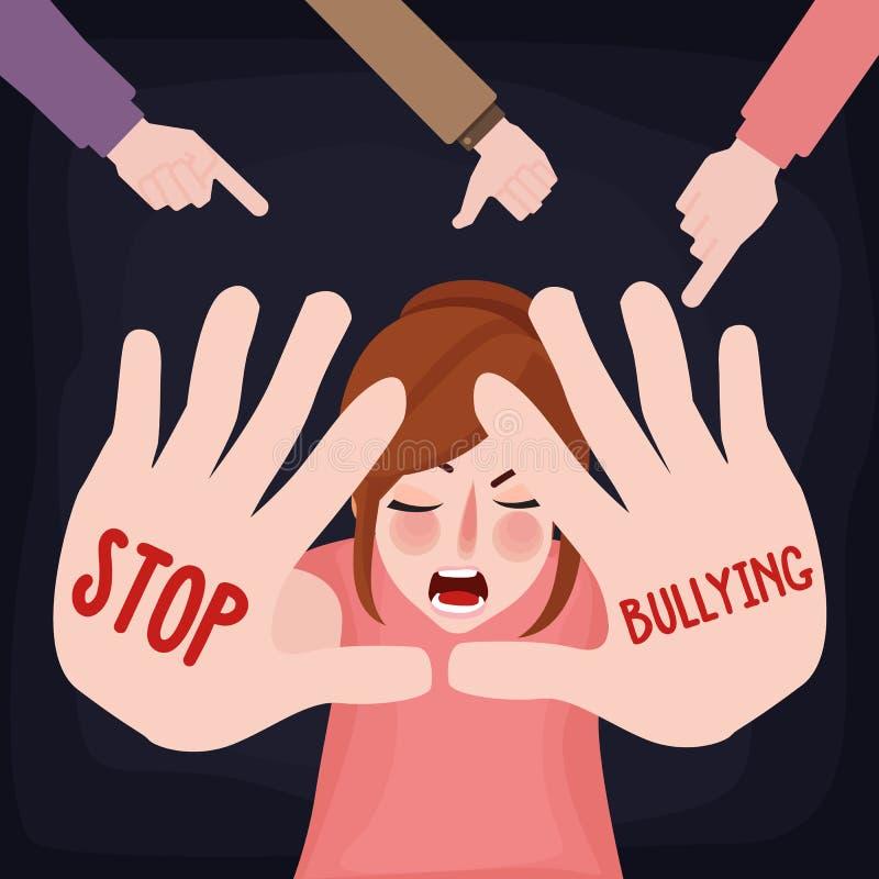 停止胁迫有手标志的虐待儿童女孩哀伤的受害者害怕的妇女 库存例证