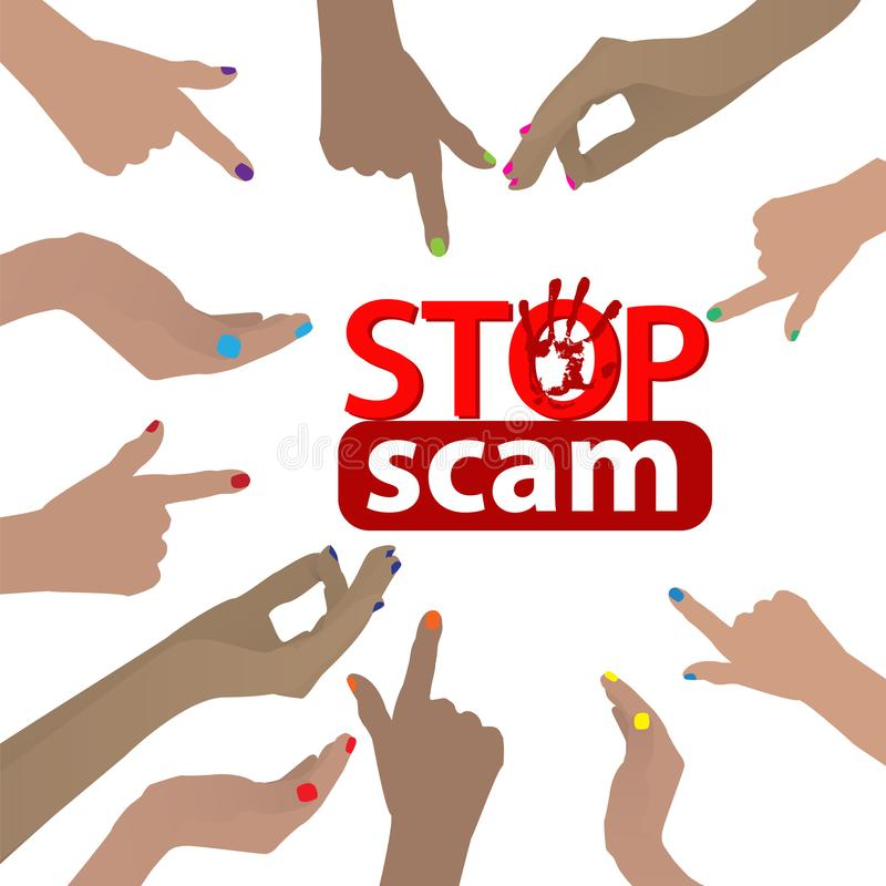 停止诈欺 欺骗和欺骗 向量例证