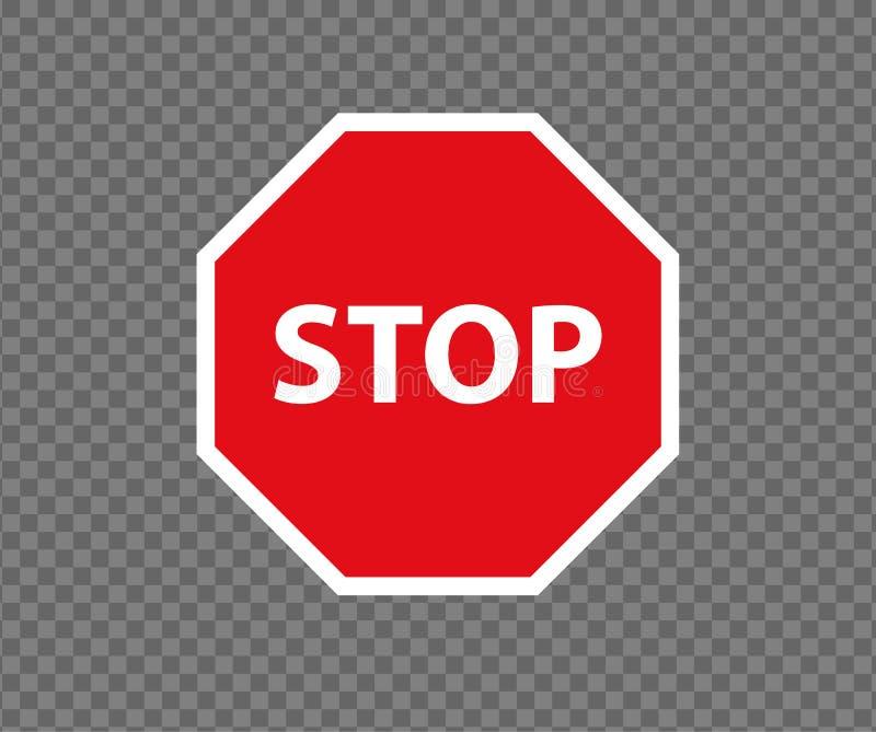 停止路标 新的红色不进入交通标志 小心禁令标志方向标 警告的停车牌 向量例证