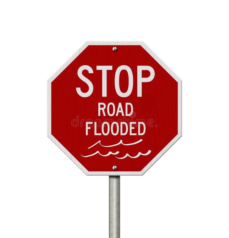 停止路被充斥的红色美国路标 免版税库存图片