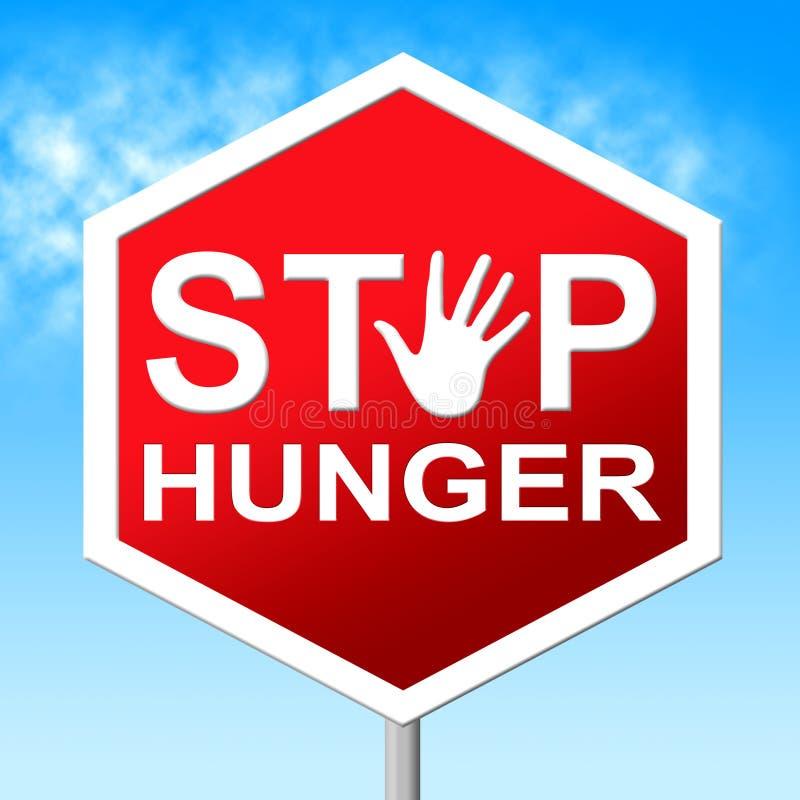 停止饥饿手段缺乏食物并且警告 向量例证