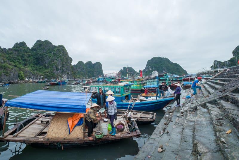 停泊小游艇船坞,下龙湾,广宁省,越南 图库摄影