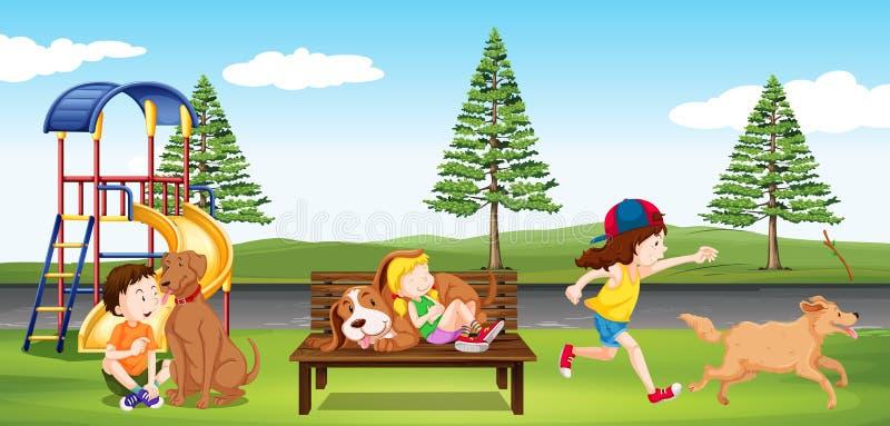 停留在公园的孩子 库存例证