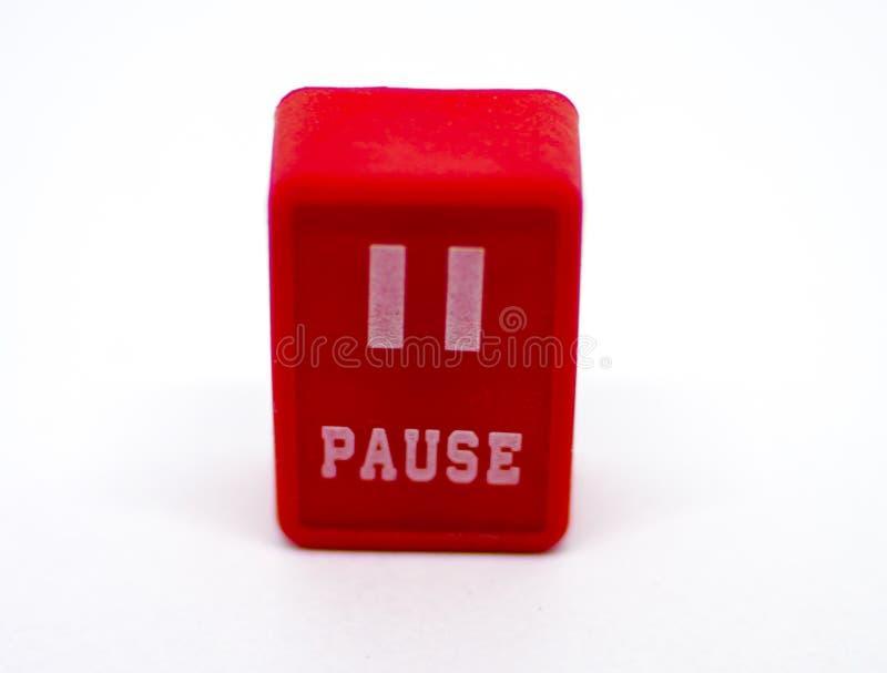停留红色按钮 免版税库存图片