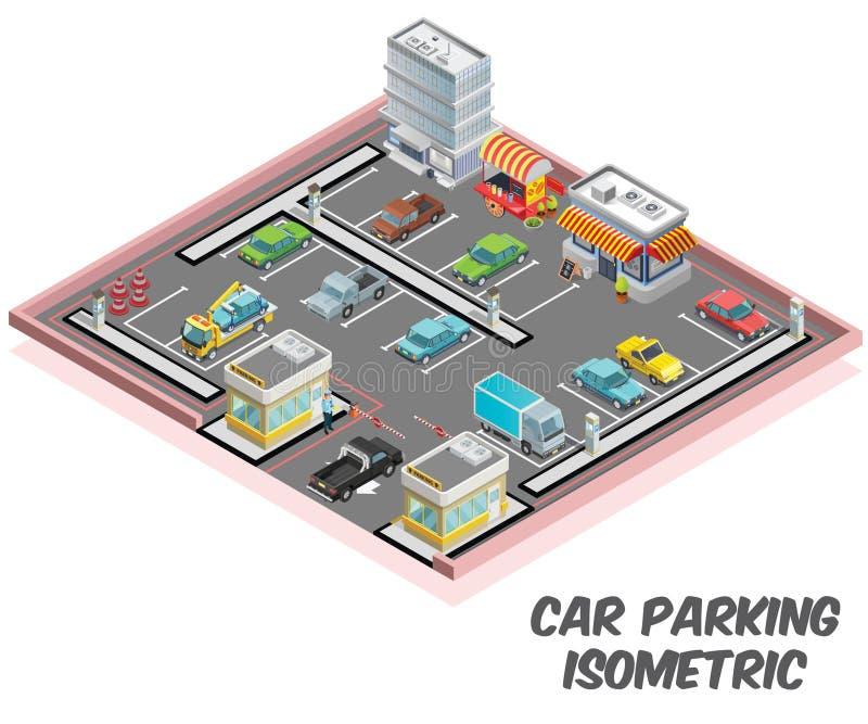 停车场,其中很多汽车是停放的等量艺术品概念 皇族释放例证