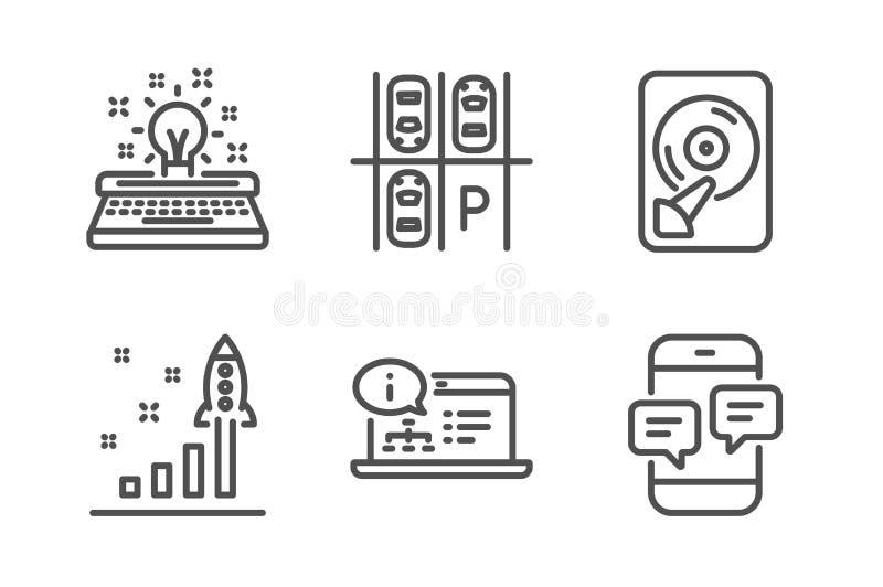 停车场,打字机和Hdd象集合 网上文献、发展计划和电话留言标志 向量 向量例证