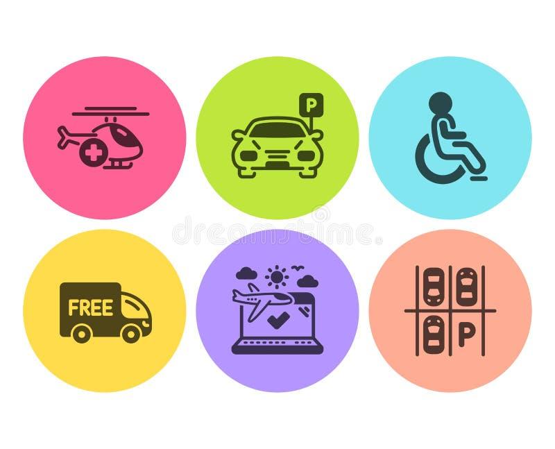 停车处、免费送货和残疾象集合 医疗直升机、飞机旅行和停车场标志 ?? 库存例证