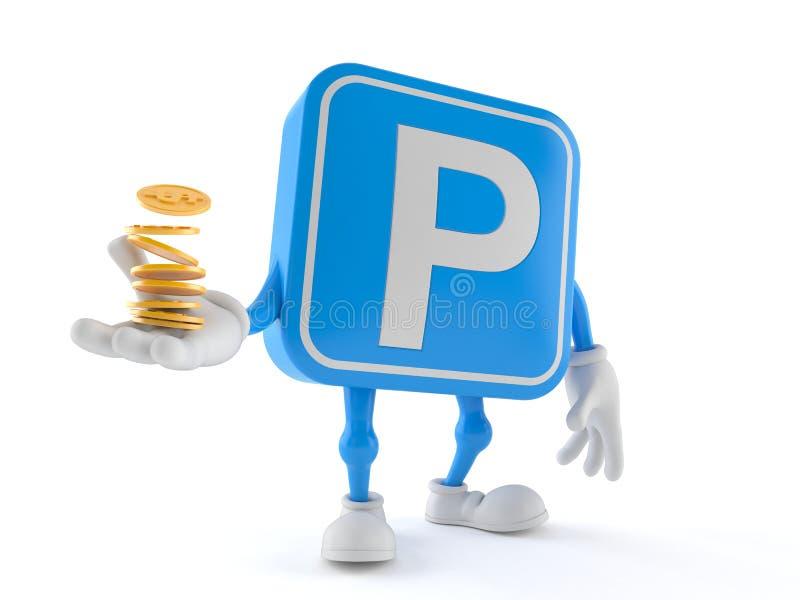 停车处与堆的标志字符硬币 库存例证