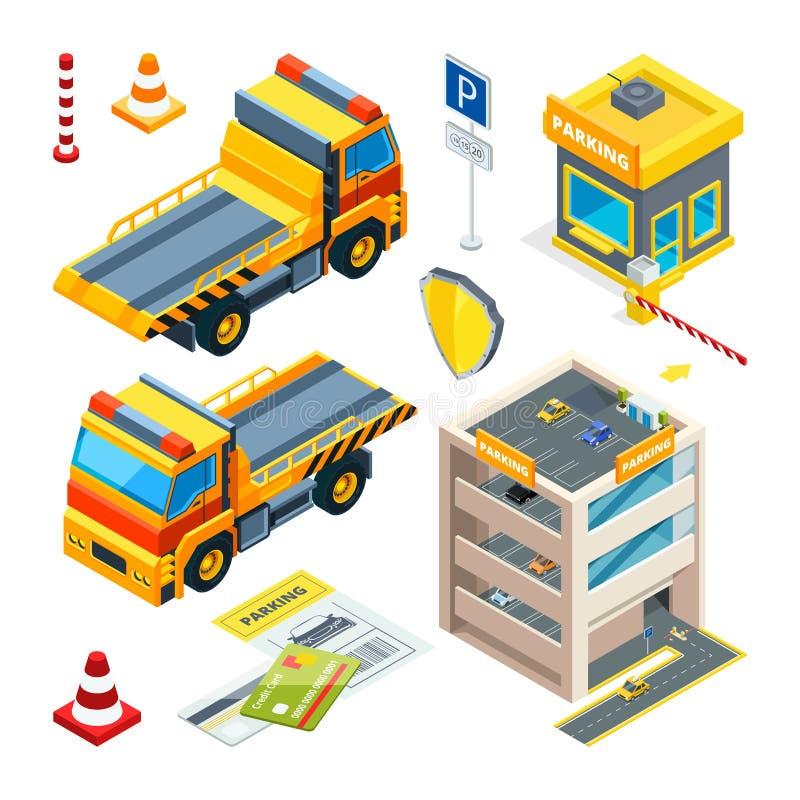 停车处和撤离汽车 等量运输交换向量 向量例证