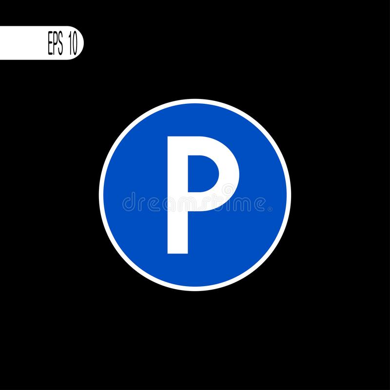 停车处标志,象 圆的标志白色稀薄的线-传染媒介例证 向量例证