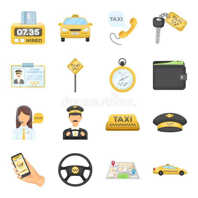 停车处,调度员,出租汽车司机是全部出租汽车服务的 在动画片样式的出租汽车集合汇集象导航标志 库存例证