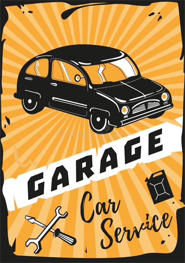 停车库 与一辆减速火箭的汽车的葡萄酒海报 向量例证