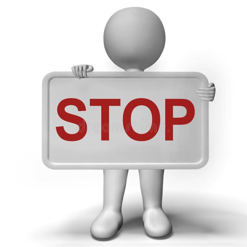 停车牌展示否认恐慌和否定性 向量例证