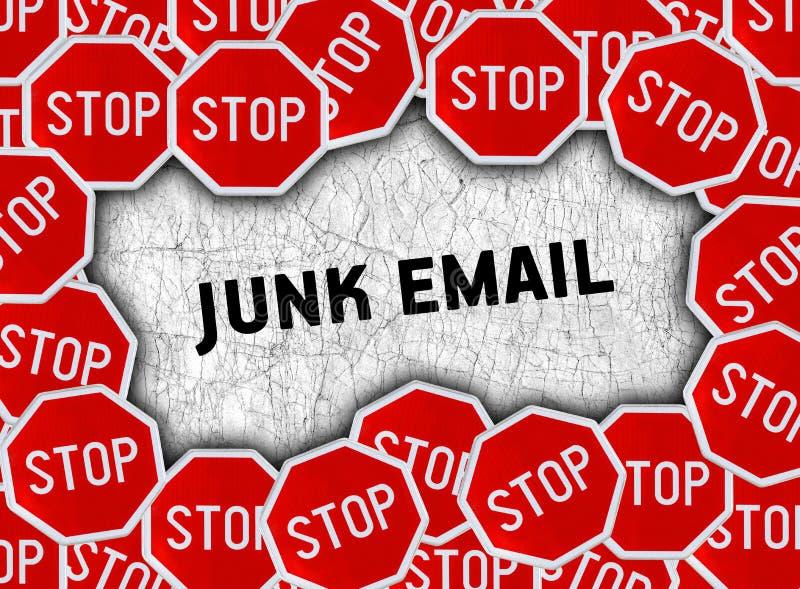 停车牌并且措辞破烂物电子邮件 库存图片