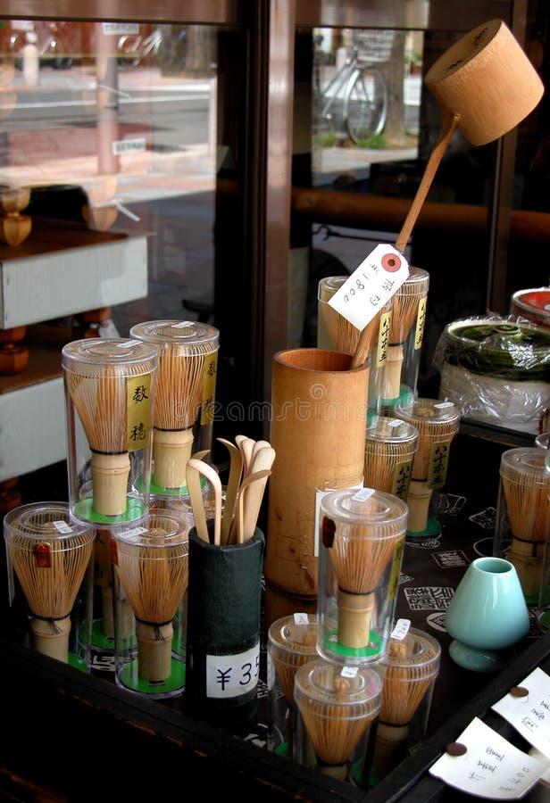 停转茶工具 免版税库存照片