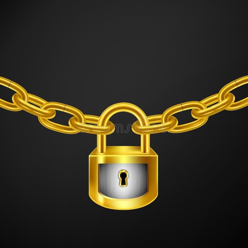 停轮链金子 库存例证