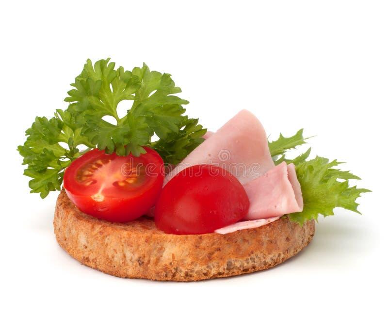 健康三明治用菜和熏制的火腿 库存照片