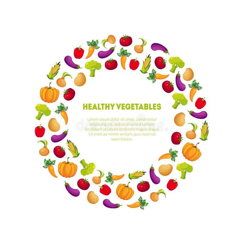 健康与地方的菜横幅模板圆的框架文本的,设计元素可以为杂货店标签使用 向量例证