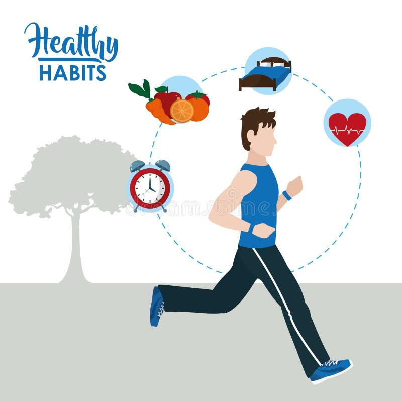 健康习性生活方式 库存例证