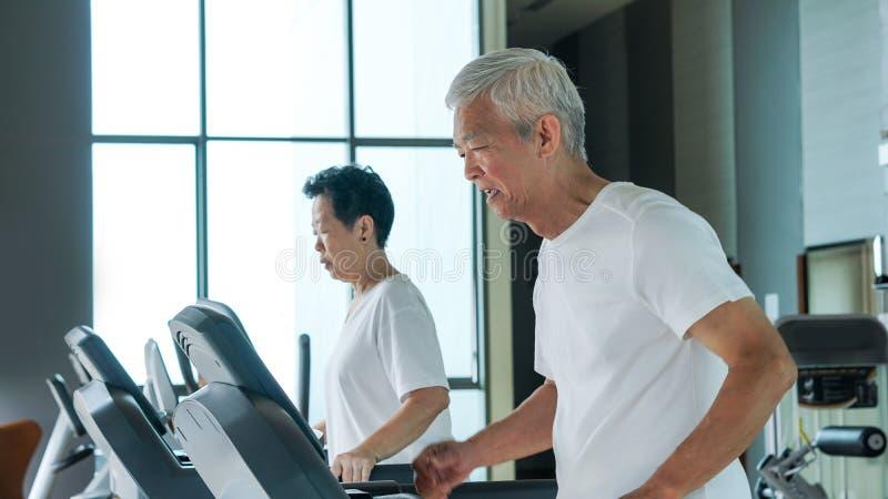 健康亚洲资深夫妇在健身房连续tre一起行使 免版税库存图片