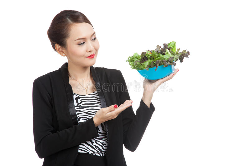 健康亚裔女商人用沙拉 库存图片