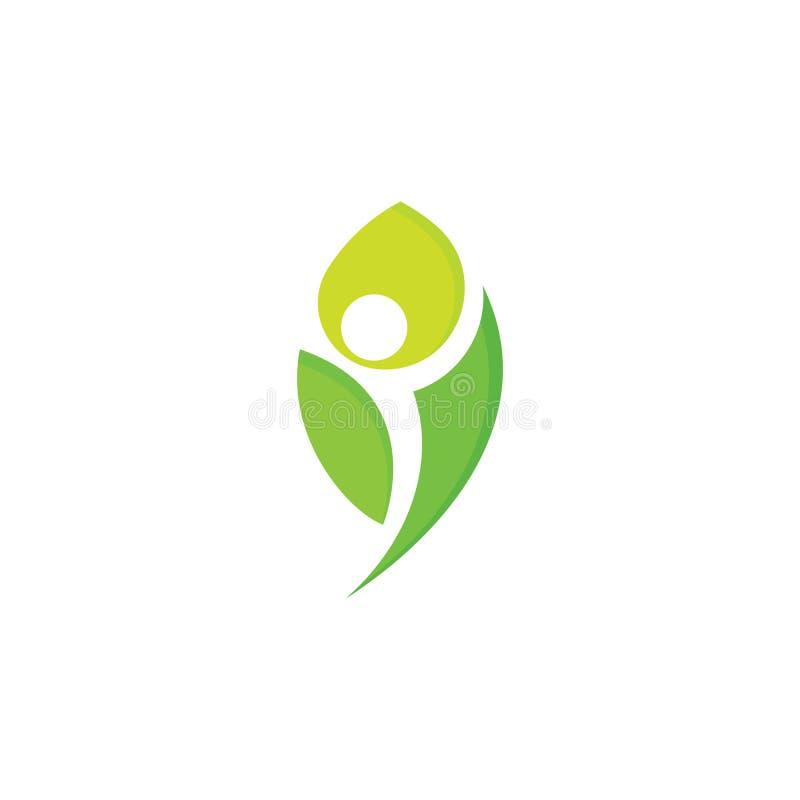 健康人民导航商标,绿色叶子,人剪影阴性空间 有机食品略写法模板 素食主义者 向量例证