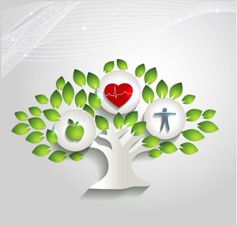 健康人的概念、树和医疗保健标志 库存例证