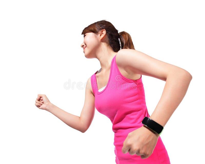 健康佩带巧妙的手表的体育妇女 库存照片