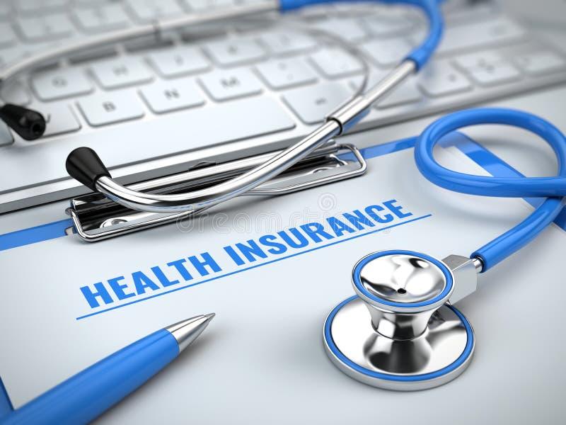 健康保险概念-在膝上型计算机键盘的听诊器有剪贴板和笔的 皇族释放例证