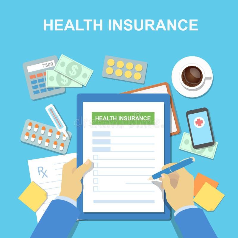 以健康保险的形式,人在桌上填装 是概念现有量有医疗保健帮助延迟药片 也corel凹道例证向量 向量例证