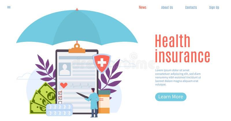 健康保险 医疗保健、患者保险、人命保护 治疗福利,紧急服务网站 皇族释放例证